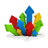 3d - breakthrough arrows - colorful. 3d render - breakthrough arrows over white background Stock Photography