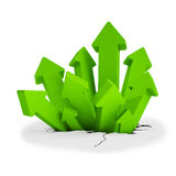 3d - breakthrough arrows - green. 3d render - breakthrough arrows over white background Stock Image