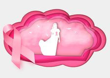 3d Breast cancer awareness pink ribbon on white stock illustration
