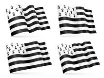 3D Breton waving flags set  on white background. Vector 3D Breton waving flags set  on white background Stock Photos