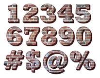 3-D Brick Numbers. Three Dimensional Brick Numbers and Symbols stock photos