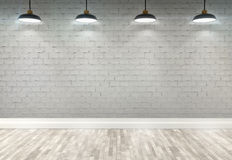 3d brick  room with ceiling lamps. 3d brick room with ceiling lamp Royalty Free Stock Image