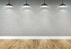 3d brick  room with ceiling lamps. 3d brick room with ceiling lamp Stock Photography