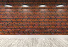 3d brick  room with ceiling lamps. 3d red brick room with ceiling lamp Royalty Free Stock Image