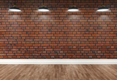 3d brick  room with ceiling lamps Stock Image