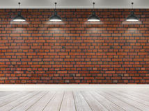 3d brick  room with ceiling lamps Royalty Free Stock Image