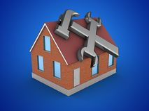 3d bricks house. 3d illustration of bricks house over blue background with repair symbol Royalty Free Stock Image