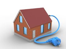 3d bricks house. 3d illustration of bricks house over white background with power cable Stock Photos