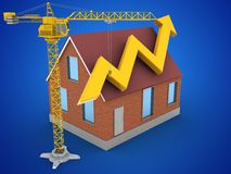 3d bricks house. 3d illustration of bricks house over blue background with arrow graph and crane Royalty Free Stock Images