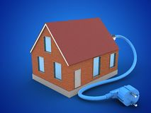 3d bricks house. 3d illustration of bricks house over blue background with power cable Royalty Free Stock Photos