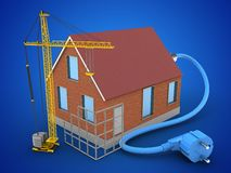 3d bricks house. 3d illustration of bricks house over blue background with power cable and construction site Stock Photo