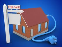 3d bricks house. 3d illustration of bricks house over blue background with power cable and sale sign Stock Image