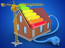 3d bricks house. 3d illustration of bricks house over blue background with power ranks and crane Royalty Free Stock Photo