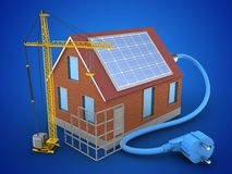 3d bricks house. 3d illustration of bricks house over blue background with solar power and construction site Stock Photography