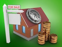 3d bricks house. 3d illustration of bricks house over green background with bank door and sale sign Royalty Free Stock Images