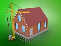 3d bricks house. 3d illustration of bricks house over green background with construction site Stock Photos