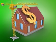 3d bricks house. 3d illustration of bricks house over green background with dollar sign and crane Stock Photography