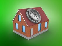 3d bricks house. 3d illustration of bricks house over green background with vault door Royalty Free Stock Image