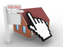 3d bricks house. 3d illustration of bricks house over white background with cursor and sale sign Royalty Free Stock Photos