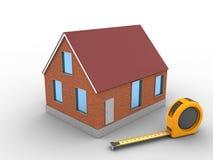 3d bricks house. 3d illustration of bricks house over white background with ruler Stock Image