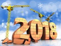 3d bricks 2018 year sign. 3d illustration of cranes building bricks 2018 year sign over snow background Stock Image