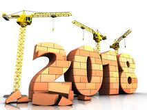 3d bricks 2018 year sign. 3d illustration of cranes building bricks 2018 year sign over white background Royalty Free Stock Photos