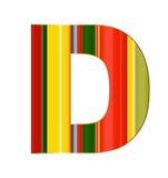 D brief in kleurrijke lijnen op witte achtergrond Royalty-vrije Stock Foto