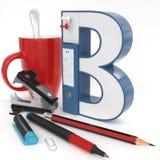 ` 3d brief van B ` met bureaumateriaal Stock Afbeeldingen