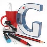 ` 3d brief van G ` met bureaumateriaal Stock Fotografie