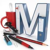 ` 3d brief van M ` met bureaumateriaal Stock Fotografie