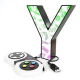 ` 3d brief van Y ` met videospelletjecontrolemechanisme Stock Foto's