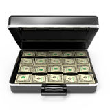 3d Briefcase full of dollars Stock Photos