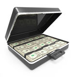 3d Briefcase full of US Dollars. 3d render of a briefcase full of US Dollar banknotes Royalty Free Stock Images
