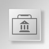3D Briefcase icon Business Concept. 3D Symbol Gray Square Briefcase icon Business Concept Royalty Free Stock Photo