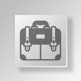 3D Briefcase icon Business Concept. 3D Symbol Gray Square Briefcase icon Business Concept Royalty Free Stock Image
