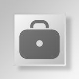 3D Briefcase icon Business Concept. 3D Symbol Gray Square Briefcase icon Business Concept Royalty Free Stock Images