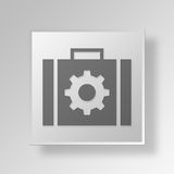 3D briefcase settings icon Business Concept. 3D Symbol Gray Square briefcase settings icon Business Concept Stock Photo