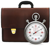 3d briefcase and stopwatch. On white background Royalty Free Stock Image