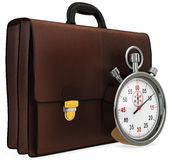 3d briefcase and stopwatch. On white background Royalty Free Stock Photos