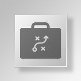 3D Briefcase Strategy icon Business Concept. 3D Symbol Gray Square Briefcase Strategy icon Business Concept Royalty Free Stock Image