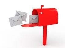 3d brievenbus en enveloppen stock illustratie