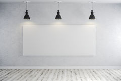 3d bright interior setup with ceiling lamp and blank frame canvas. 3d bright interior setup with black ceiling lamp and blank frame canvas Royalty Free Stock Photo