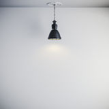 3d bright interior setup with ceiling lamp and white wall. 3d bright interior setup with black ceiling lamp and white wall Royalty Free Stock Photos