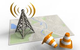 3d bright map. 3d illustration of bright map with antenna and Stock Images