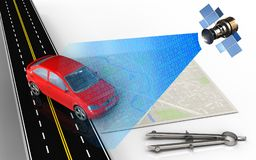 3d bright map. 3d illustration of bright map with car and circle tool Royalty Free Stock Image