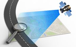 3d bright map. 3d illustration of bright map with magnify glass and Stock Photo