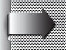 3d brillante ha piegato la freccia del metallo del cromo sul piatto d'acciaio con i fori Immagini Stock Libere da Diritti