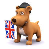 3d British puppy. 3d render of a puppy with a Union Jack flag in his mouth Royalty Free Stock Photography