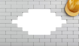 3d Broken Brick Wall with Helmet, isolated on white background Stock Photography