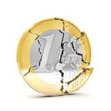 3d broken euro Royalty Free Stock Photo